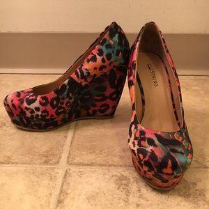 Cheetah Print Wedge Heels